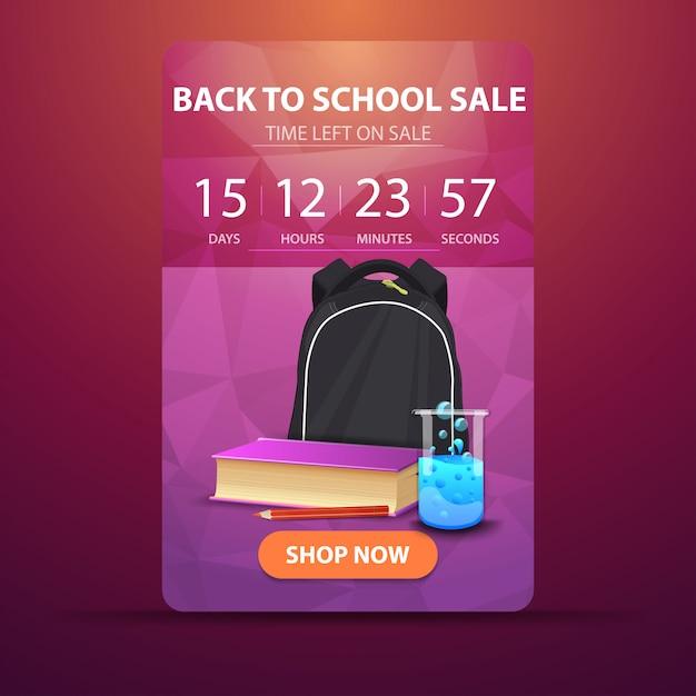 De retour à l'école, bannière web avec compte à rebours jusqu'à la fin de la vente avec sac à dos scolaire Vecteur Premium
