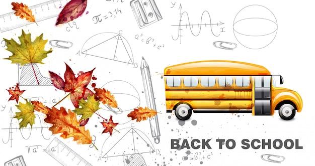 Retour à l'école carte aquarelle Vecteur Premium