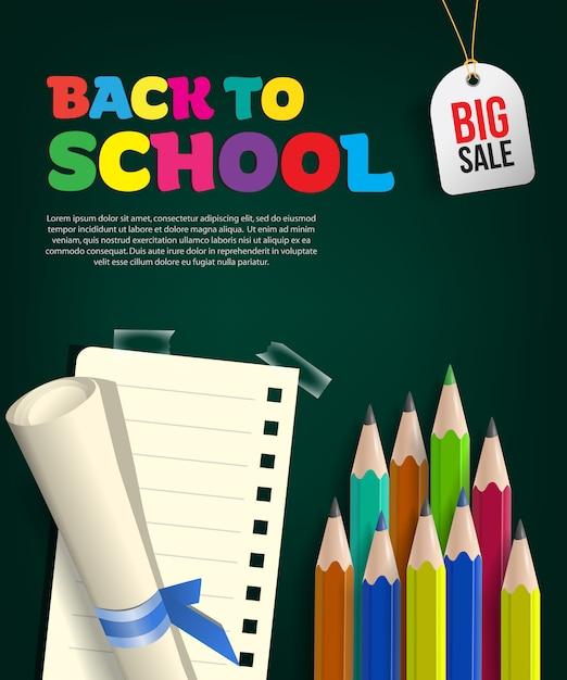 Retour à l'école dépliant grande vente avec rouleau de papier Vecteur gratuit
