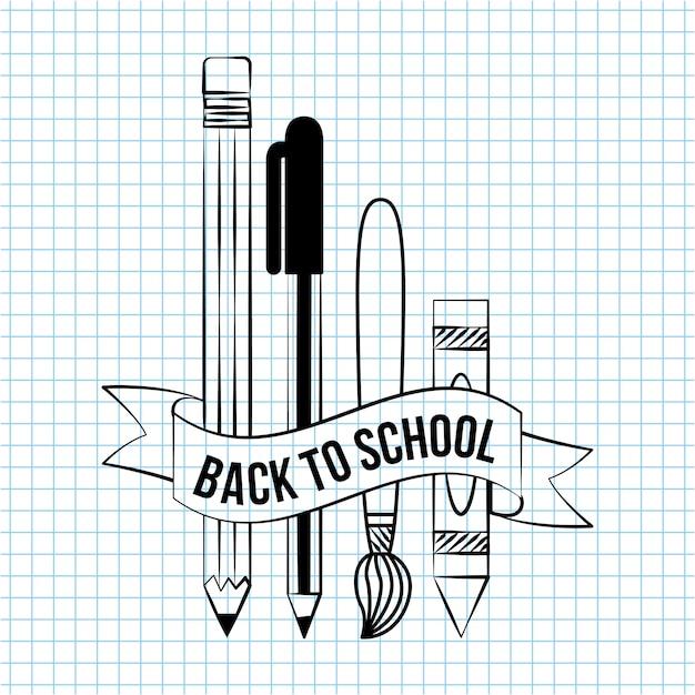Retour à l'école doodle éléments de l'école à écrire sur une illustration papier cahier Vecteur gratuit