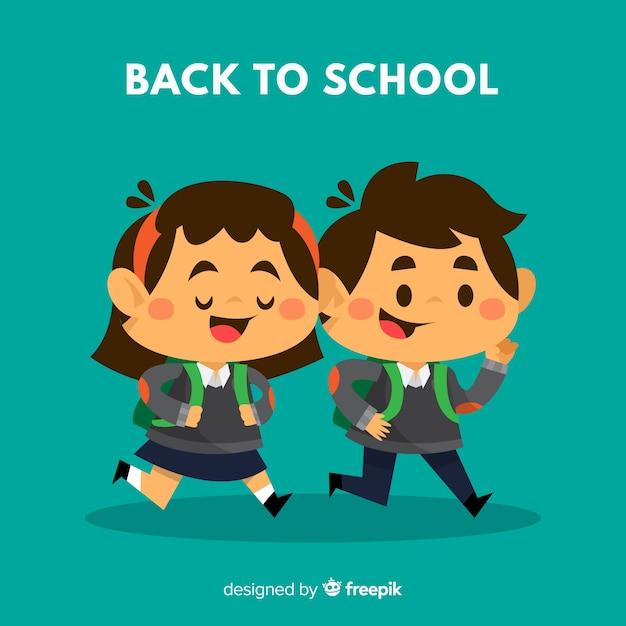 Retour à l'école avec des écoliers Vecteur gratuit