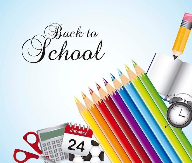 Retour à l'école avec des éléments de l'école Vecteur Premium