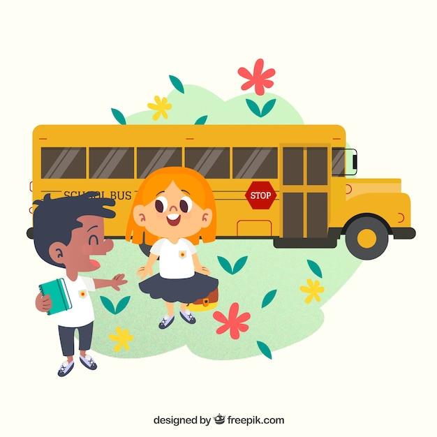 Retour à l'école avec les enfants et les autobus scolaires Vecteur gratuit