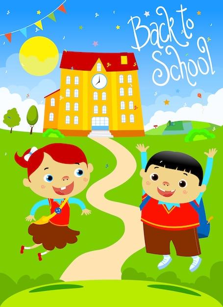 Retour à l'école des enfants heureux design plat illustration. police à la main. Vecteur Premium