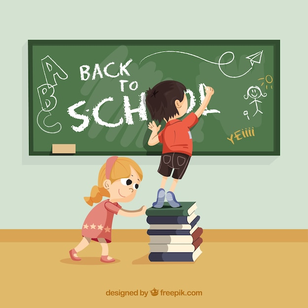 Retour à l'école avec des enfants heureux Vecteur gratuit