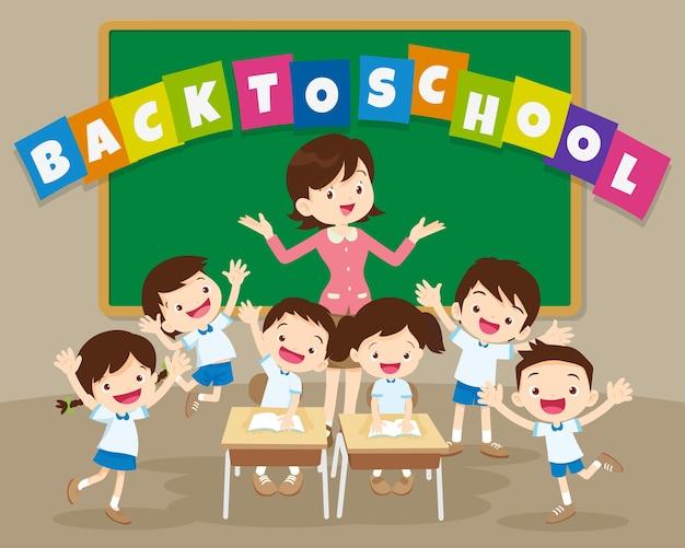 Retour à l'école avec l'enseignant et l'élève Vecteur Premium