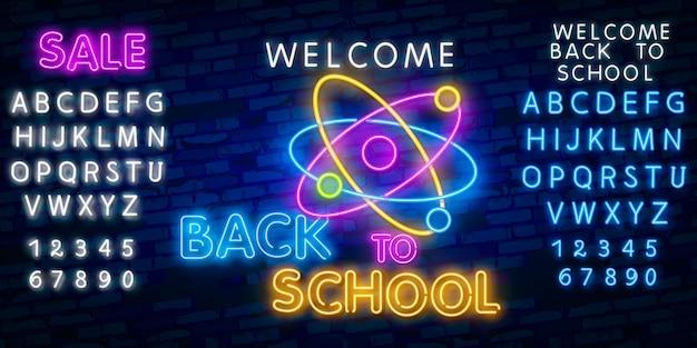 Retour à l'école avec des enseignes au néon Vecteur Premium