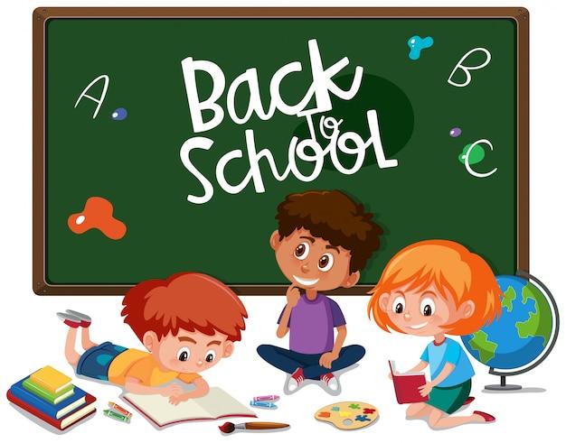 Retour à l'école avec étudiant Vecteur Premium