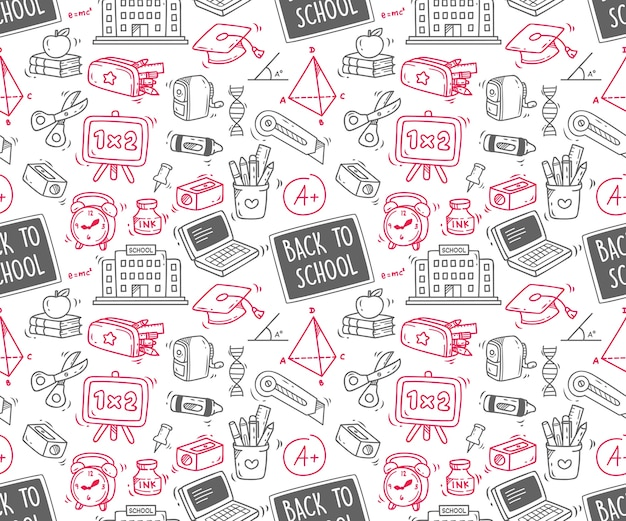 Retour à l'école sur fond sans couture doodle Vecteur Premium