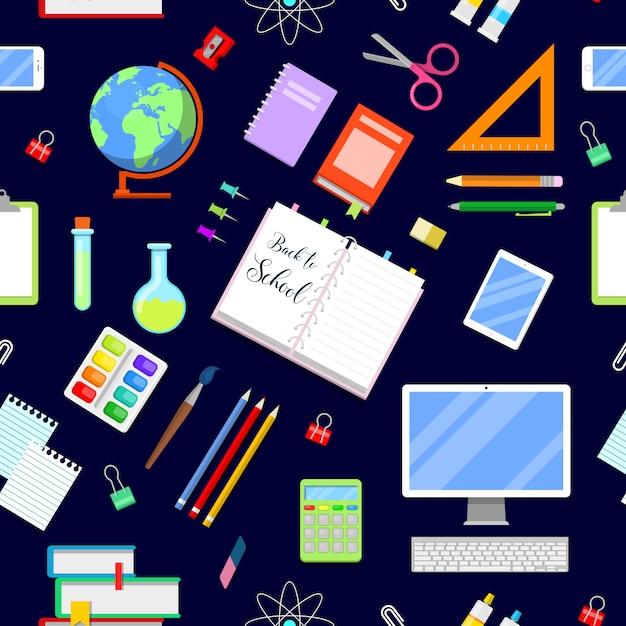 Retour à L'école Fond Transparent Avec Des Icônes De L'éducation. Vecteur Premium
