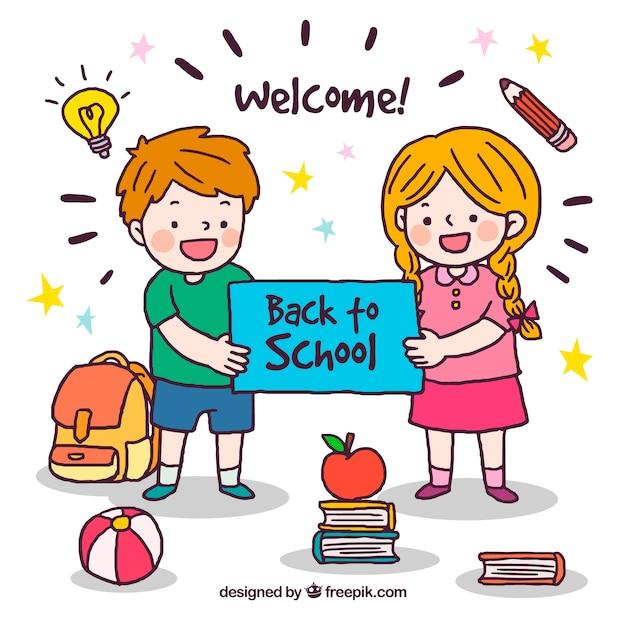 Retour à l'école de fond Vecteur gratuit