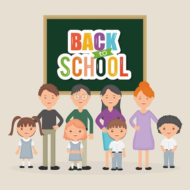 Retour à l'école. groupe de jeunes enseignants avec des élèves au tableau Vecteur gratuit