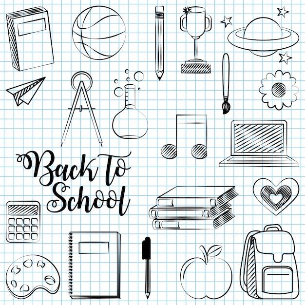 Retour à l'école avec illustration d'éléments scolaires Vecteur gratuit