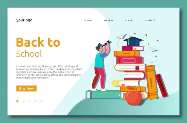 Retour à l'école landig page Vecteur Premium