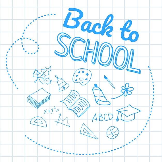 Retour à l'école lettrage sur papier quadrillé avec des dessins à la main Vecteur gratuit
