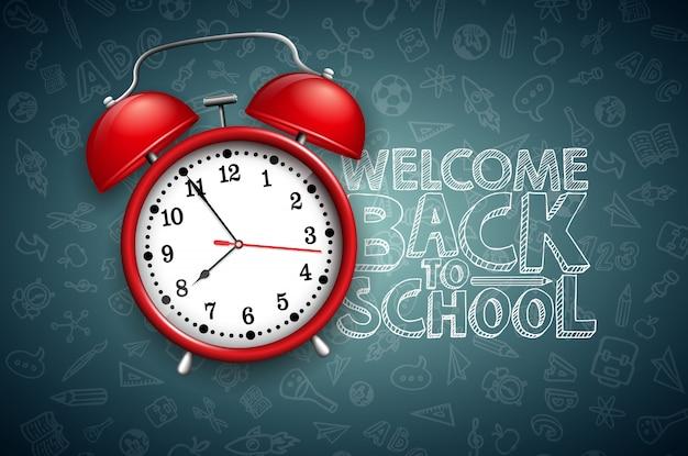 Retour à l'école lettrage avec réveil rouge et typographie sur tableau noir Vecteur Premium