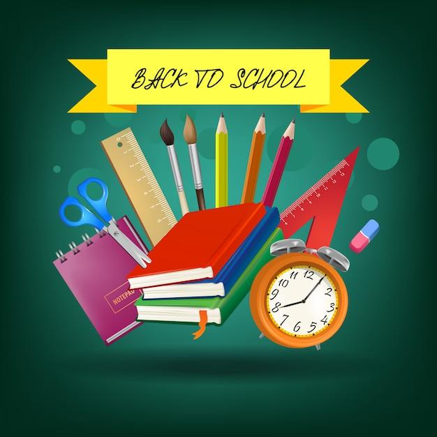 Retour à l'école lettrage sur ruban jaune avec des fournitures Vecteur gratuit
