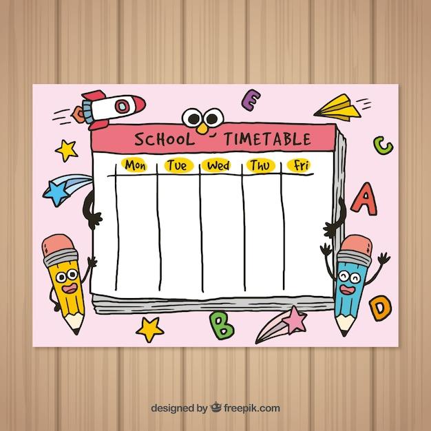 Retour à l'école modèle de calendrier dessiné à la main Vecteur gratuit