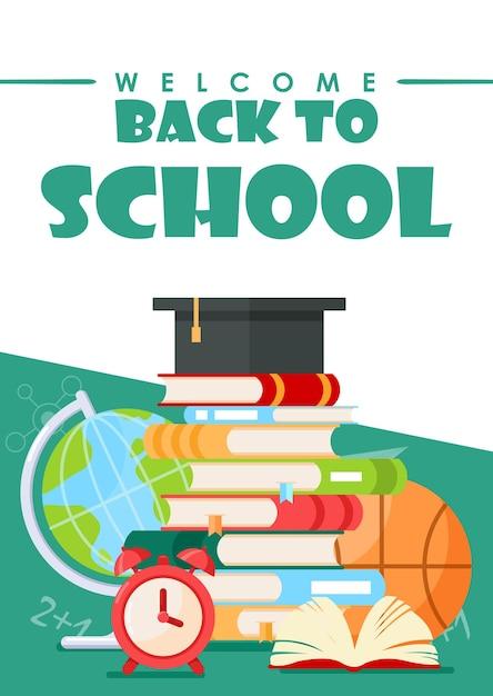 Retour à L'école Papeterie De Dessin Animé Fond De Concept D'éducation Pour Affiche Ou Bannière Web. Vecteur Premium