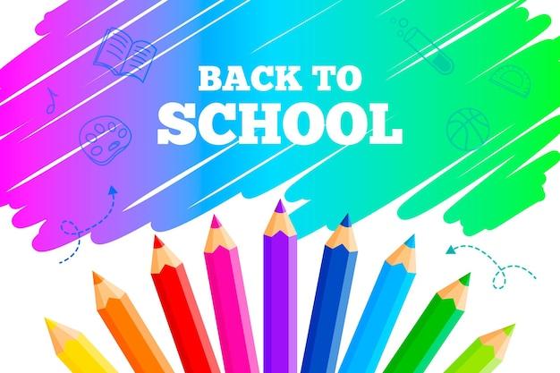 Retour à L'école Papier Peint Avec Des Crayons Vecteur Premium