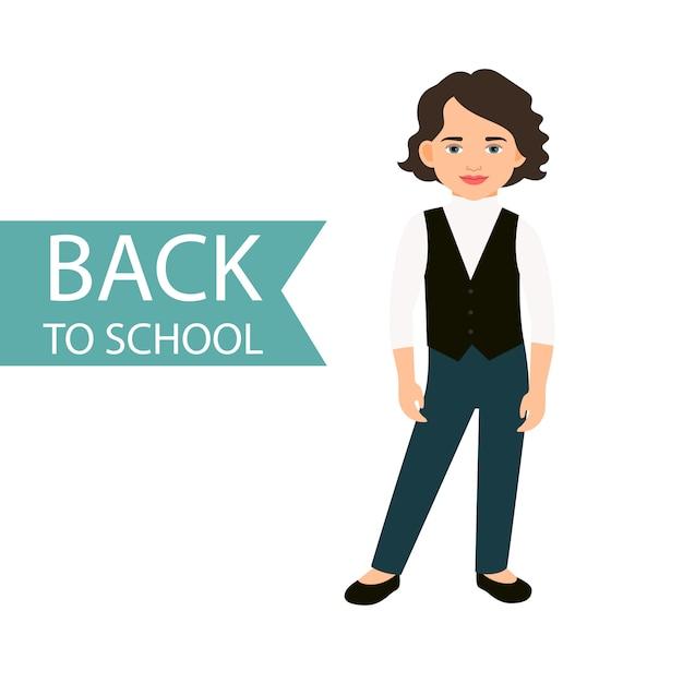 Retour à l'école petite fille Vecteur Premium