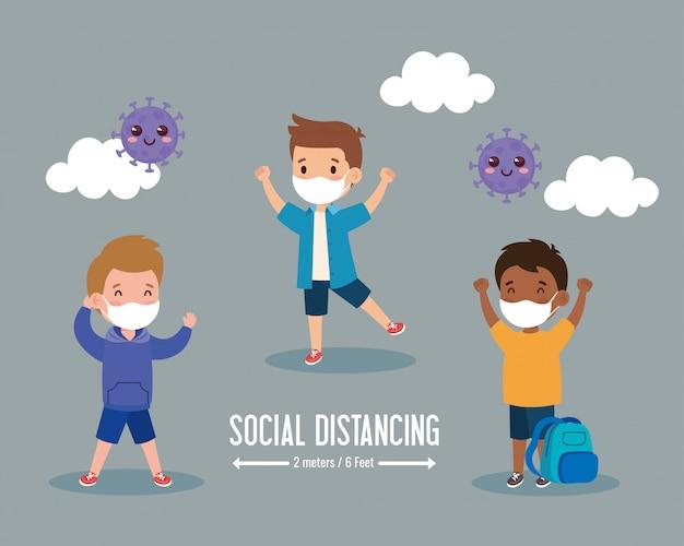 Retour à L'école Pour Un Nouveau Concept De Mode De Vie Normal, Les Enfants Portant Un Masque Médical Et La Distance Sociale Protègent Le Coronavirus Covid 19 Vecteur Premium