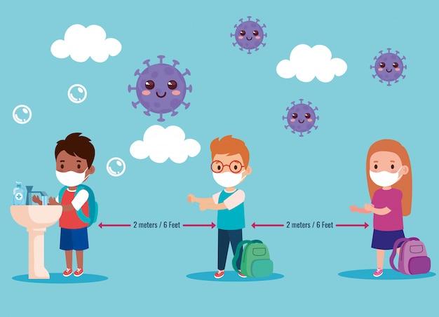 Retour à L'école Pour Un Nouveau Concept De Mode De Vie Normal, Des Enfants Portant Un Masque Médical Et Une Distance Sociale Vecteur Premium