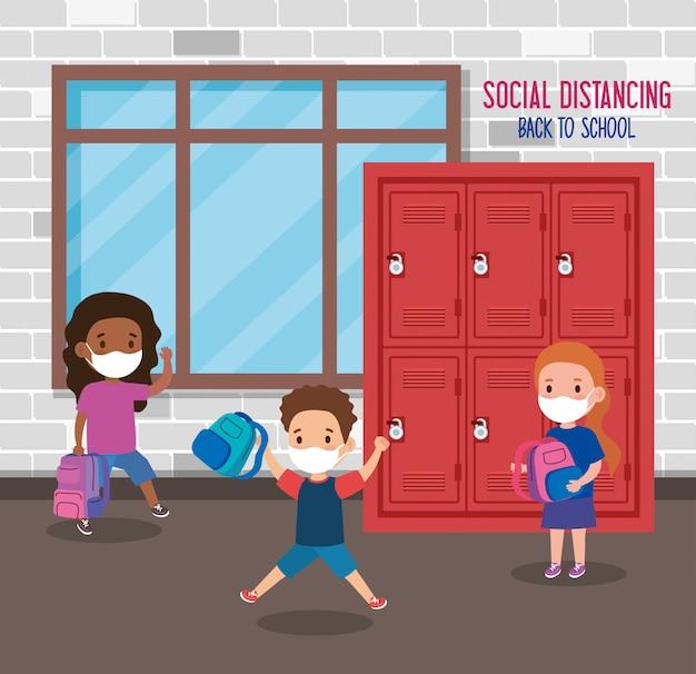 Retour à L'école Pour Un Nouveau Concept De Mode De Vie Normal, Les Enfants Portant Un Masque Médical Et La Distanciation Sociale Protègent Le Coronavirus Covid 19, à L'école Vecteur Premium