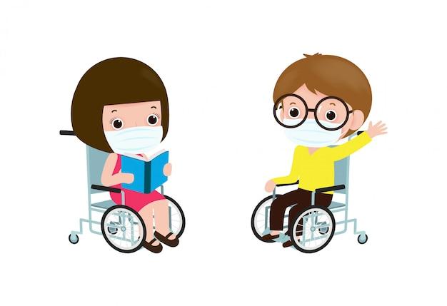 Retour à L'école Pour Un Nouveau Concept De Mode De Vie Normal, Heureux Petit Garçon Handicapé Et Fille En Fauteuil Roulant Portant Un Masque Facial Vecteur Premium