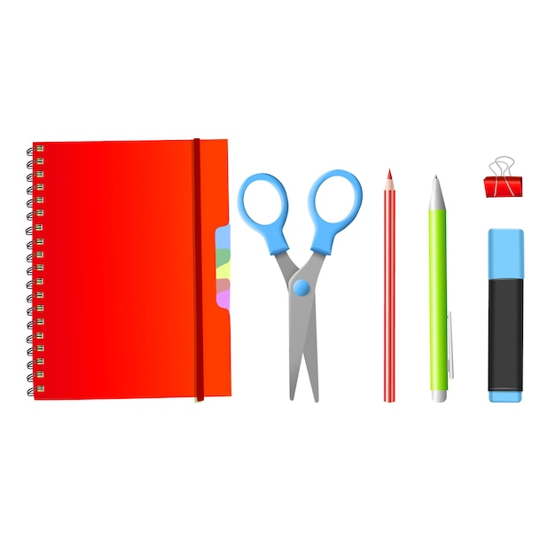Retour à l'école. retour à l'école des objets isolés réalistes Vecteur Premium