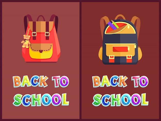 Retour à l'école avec des sacs à dos ou à dos Vecteur Premium