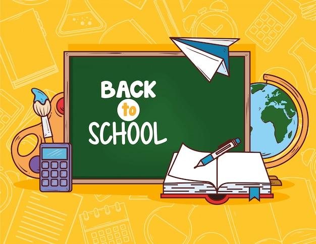 Retour à L'école Avec Tableau Noir Et Fournitures De Conception D'illustration Vectorielle éducation Vecteur Premium