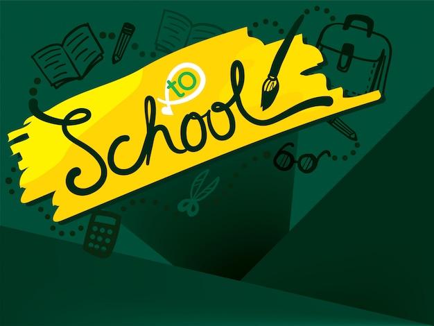 Retour à l'école sur tableau noir vert Vecteur Premium