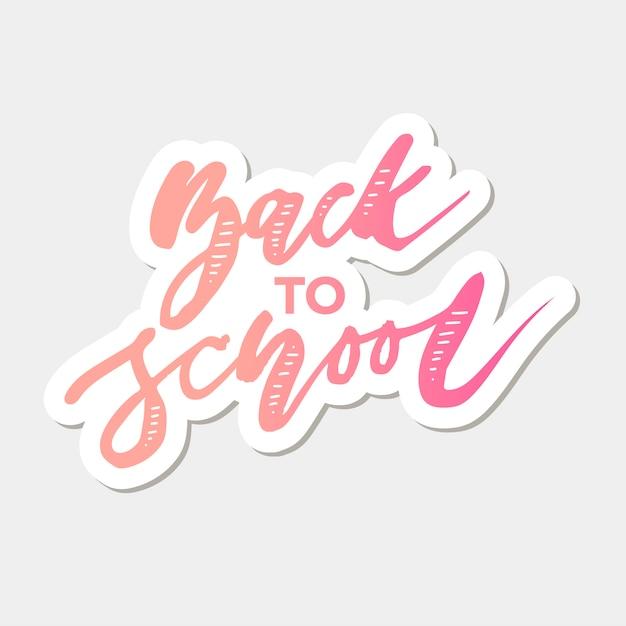Retour à l'école vecteur d'expression lettrage calligraphie automne Vecteur Premium