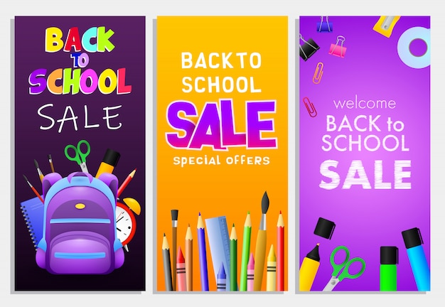 Retour à L'école Vente Lettrages Ensemble, Sac à Dos, Crayons, Pinceaux Vecteur gratuit