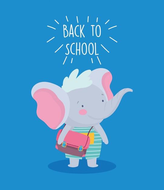 Retour à L'éducation Scolaire Mignon Petit éléphant Avec Sac à Dos Vecteur Premium