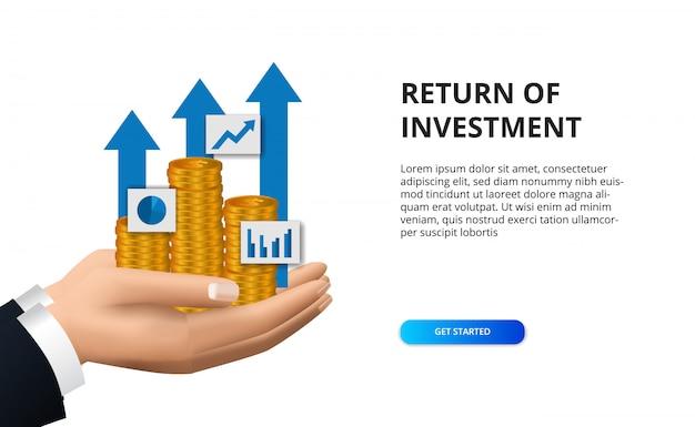 Retour de la flèche de succès de croissance de l'investissement avec la main tenant une pièce d'or pour la finance Vecteur Premium