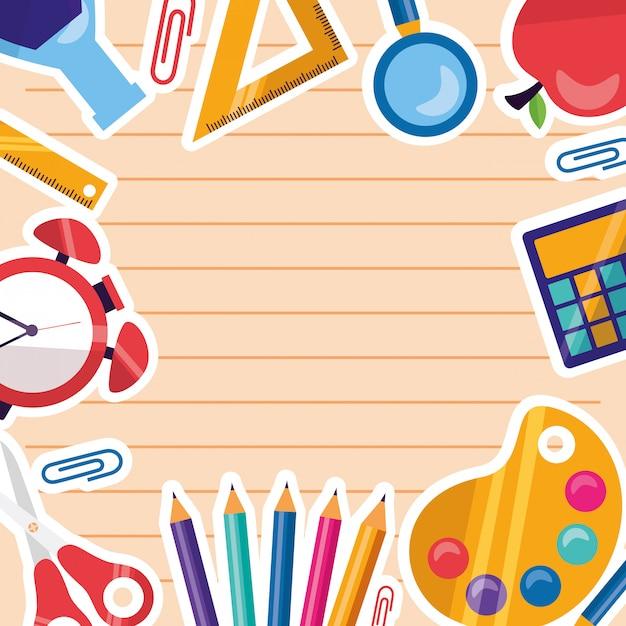 Retour à fond de cadre de fournitures scolaires Vecteur gratuit