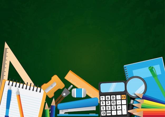 Retour à fond d'illustration vectorielle école avec fond Vecteur Premium