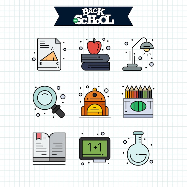 Retour à l'icône de l'école. education et apprentissage ligne icônes définies. Vecteur gratuit