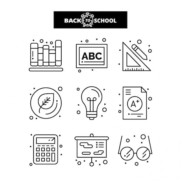 Retour à l'icône de l'école. education et apprentissage ligne icônes définies. Vecteur Premium