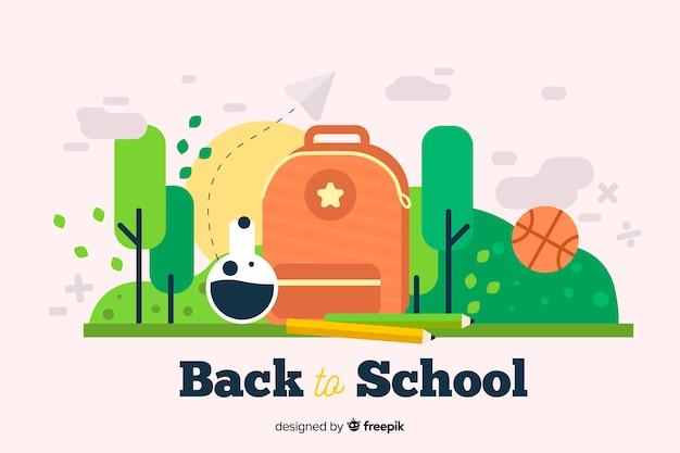 Retour à l'illustration design plat école avec sac à dos et des arbres Vecteur gratuit