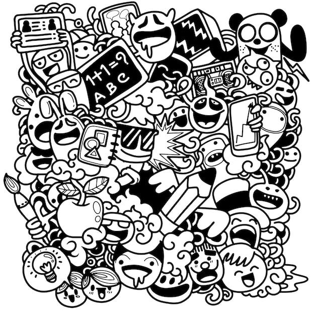 Retour à l'illustration de l'école avec des personnages de l'école drôles Vecteur Premium