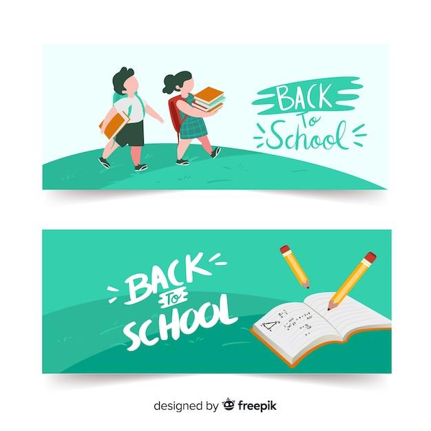 Retour à l'illustration de l'école avec des personnages et un livre Vecteur gratuit