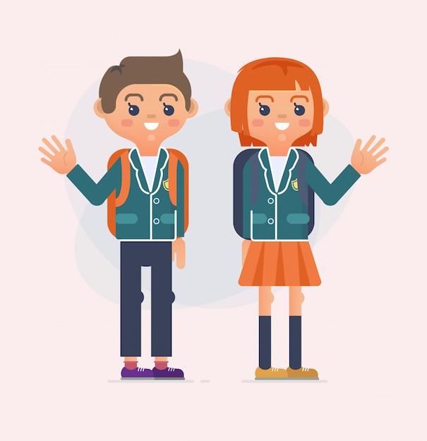 Retour à l'illustration scolaire des enfants Vecteur Premium