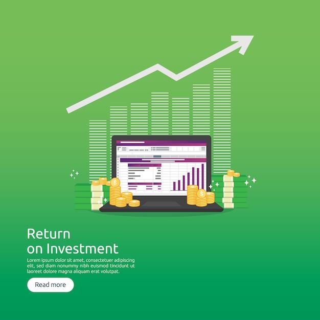 Retour sur investissement et analyse de données seo Vecteur Premium