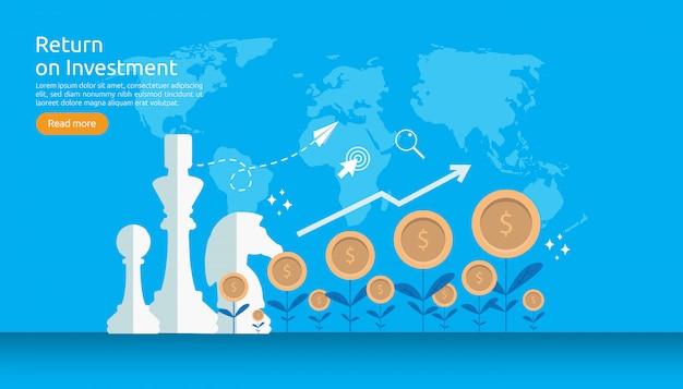 Retour sur investissement retour sur investissement ou concept de finance de croissance Vecteur Premium