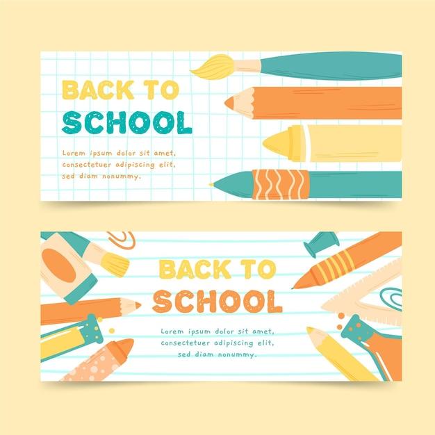 Retour à La Main Aux Bannières De L'école Vecteur gratuit