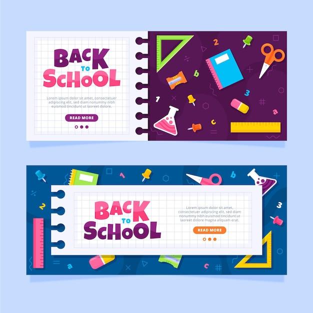 Retour Plat Aux Bannières De L'école Vecteur gratuit