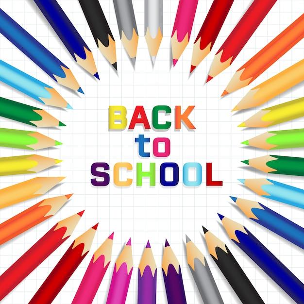 Retour réaliste au fond de l'école avec des crayons Vecteur Premium